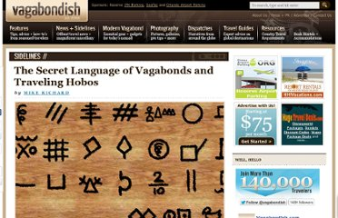 http://www.vagabondish.com/the-secret-language-of-vagabonds-and-traveling-hobos/