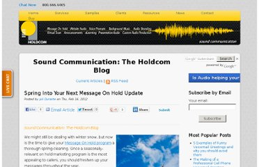 http://soundcommunication.holdcom.com/bid/82016/Spring-Into-Your-Next-Message-On-Hold-Update