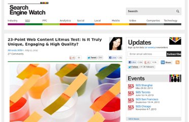 http://searchenginewatch.com/article/2190999/23-Point-Web-Content-Litmus-Test-Is-It-Truly-Unique-Engaging-High-Quality