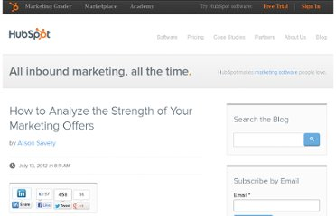 http://blog.hubspot.com/blog/tabid/6307/bid/33338/How-to-Analyze-the-Strength-of-Your-Marketing-Offers.aspx