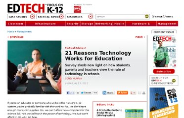 http://www.edtechmagazine.com/k12/article/2012/07/21-reasons-technology-works-education