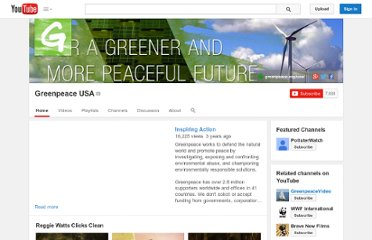 http://www.youtube.com/user/greenpeaceusa?feature=autoshare