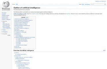 http://en.wikipedia.org/wiki/Outline_of_artificial_intelligence