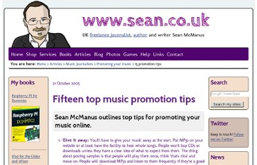 http://www.sean.co.uk/a/musicjournalism/var/music_promotion_tips.shtm