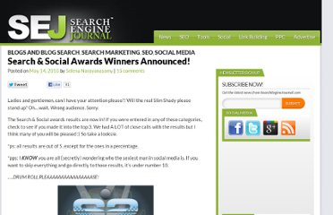 http://www.searchenginejournal.com/search-social-awards-winners-announced/20829/