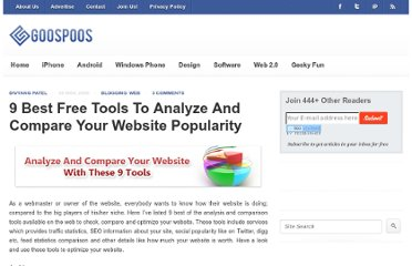 http://www.goospoos.com/2009/11/9-best-free-tools-to-analyze-and-compare-your-website-popularity/