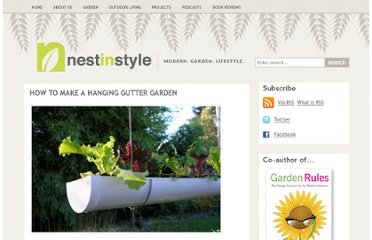 http://nestinstyle.com/garden/how-to-make-a-hanging-gutter-garden/