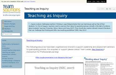 http://teamsolutions.wikispaces.com/Teaching+as+Inquiry