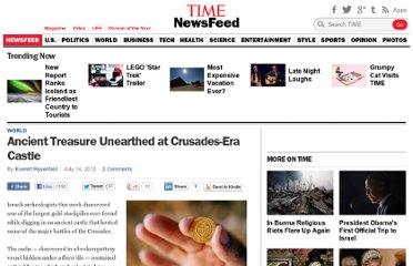 http://newsfeed.time.com/2012/07/14/ancient-treasure-unearthed-at-crusades-castle/