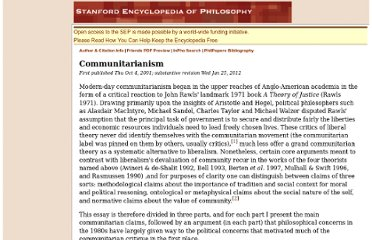 http://plato.stanford.edu/entries/communitarianism/#PolCom