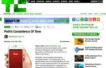 http://techcrunch.com/2012/07/14/paths-consistency-of-tone/