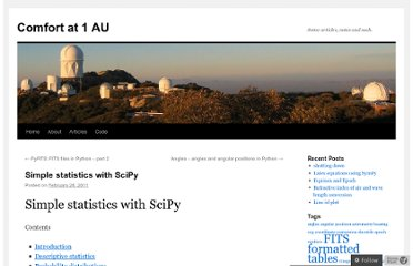 http://oneau.wordpress.com/2011/02/28/simple-statistics-with-scipy/