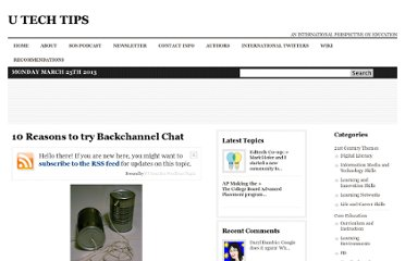 http://www.utechtips.com/2009/04/14/10-reasons-to-try-backchannel-chat/