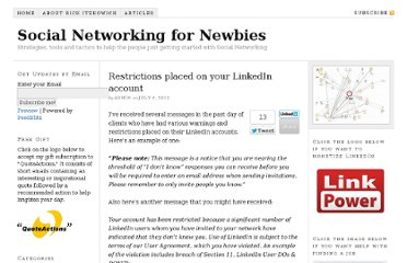 http://www.snfornewbies.com/social-networking/linkedin-social-networking/restrictions-placed-on-your-linkedin-account/