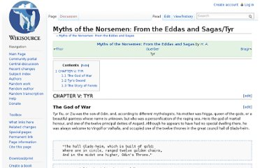 http://en.wikisource.org/wiki/Myths_of_the_Norsemen:_From_the_Eddas_and_Sagas/Tyr