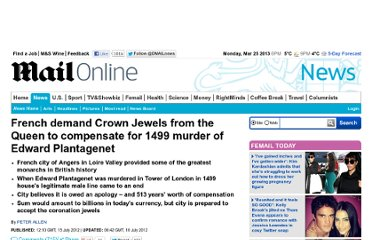 http://www.dailymail.co.uk/news/article-2173848/French-demand-Crown-Jewels-Queen-1499-murder-Edward-Plantagenet.html