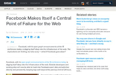 http://gigaom.com/2010/04/21/facebook-makes-itself-a-central-point-of-failure-for-the-web/