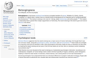 http://en.wikipedia.org/wiki/Belongingness