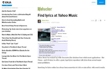 http://www.lifehacker.com/software/lyrics/find-lyrics-at-yahoo-music-255267.php