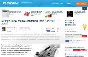http://www.dreamgrow.com/54-free-social-media-monitoring-tools-update-2012/