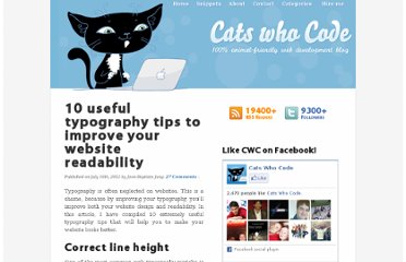 http://www.catswhocode.com/blog/10-useful-typography-tips-to-improve-your-website-readability