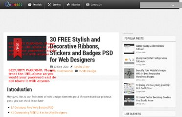http://www.queness.com/post/9211/30-free-stylish-and-decorative-ribbons-stickers-and-badges-psd-for-web-designers
