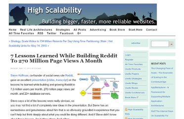 http://highscalability.com/blog/2010/5/17/7-lessons-learned-while-building-reddit-to-270-million-page.html