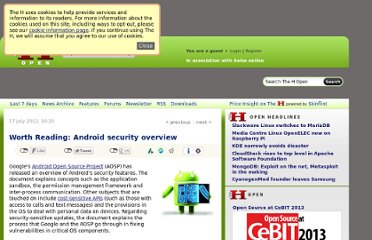 http://www.h-online.com/open/news/item/Worth-Reading-Android-security-overview-1643975.html