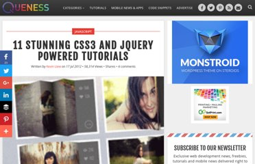 http://www.queness.com/post/12019/11-stunning-css3-and-jquery-powered-tutorials