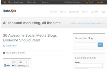 http://blog.hubspot.com/blog/tabid/6307/bid/5977/36-Awesome-Social-Media-Blogs-Everyone-Should-Read.aspx