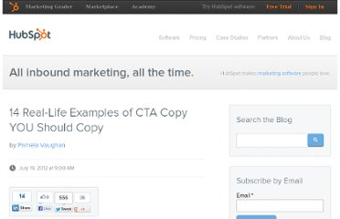 http://blog.hubspot.com/blog/tabid/6307/bid/33401/14-Real-Life-Examples-of-CTA-Copy-YOU-Should-Copy.aspx