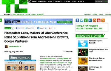 http://techcrunch.com/2012/07/19/firespotter-labs-makers-of-uberconference-raise-15-million-from-andreessen-horowitz-google-ventures/