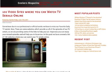 http://www.geekersmagazine.com/2011/06/17/100-video-sites-to-watch-tv-serials-online.html