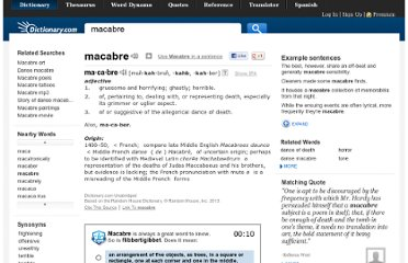 http://dictionary.reference.com/browse/macabre