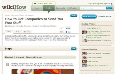 http://www.wikihow.com/Get-Companies-to-Send-You-Free-Stuff