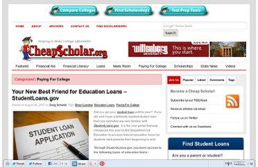 http://cheapscholar.org/2010/08/06/studentloans-gov-your-new-best-friend-for-education-loans/