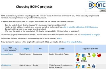 http://boinc.berkeley.edu/projects.php
