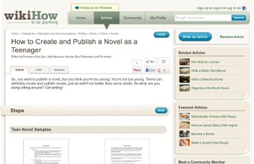 http://www.wikihow.com/Create-and-Publish-a-Novel-as-a-Teenager