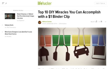http://lifehacker.com/5927857/top-10-diy-miracles-you-can-accomplish-with-a-1-binder-clip