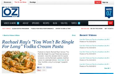 http://www.doctoroz.com/videos/rachael-rays-vodka-cream-pasta