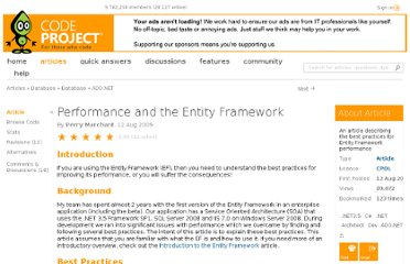 http://www.codeproject.com/Articles/38922/Performance-and-the-Entity-Framework
