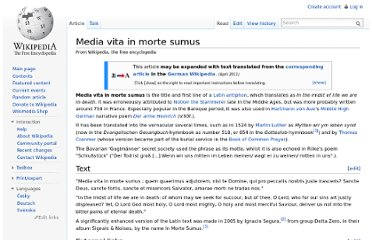 http://en.wikipedia.org/wiki/Media_vita_in_morte_sumus