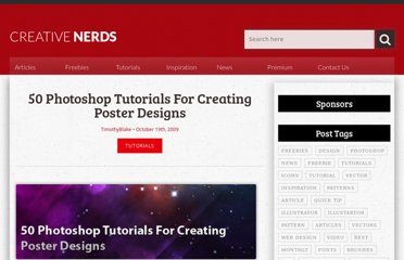 http://creativenerds.co.uk/tutorials/50-photoshop-tutorials-for-creating-posters-designs/