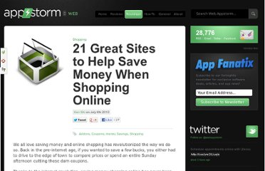 http://web.appstorm.net/roundups/shopping/21-great-sites-to-help-save-money-when-shopping-online/