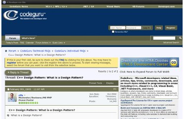 http://forums.codeguru.com/showthread.php?327982-C-Design-Pattern-What-is-a-Design-Pattern