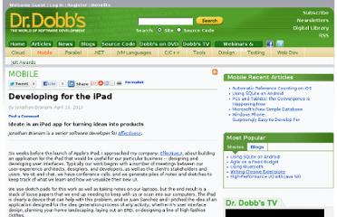 http://www.drdobbs.com/mobile/developing-for-the-ipad/224400563
