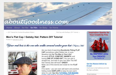 http://aboutgoodness.com/mens-flat-cap-gatsby-hat-pattern-diy-tutorial/
