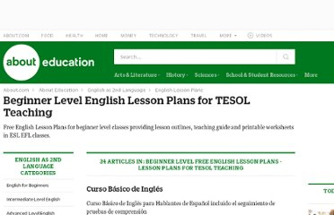 http://esl.about.com/od/beginnerlessonplans/Beginner_Level_English_Lesson_Plans_for_TESOL_Teaching.htm