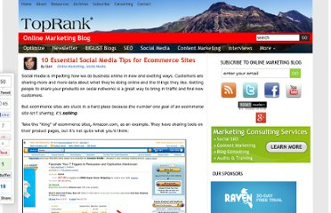 http://www.toprankblog.com/2010/05/10-essential-social-media-tips-for-ecommerce-sites/