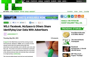 http://techcrunch.com/2010/05/20/wsj-facebook-myspace-others-share-identifying-user-data-with-advertisers/